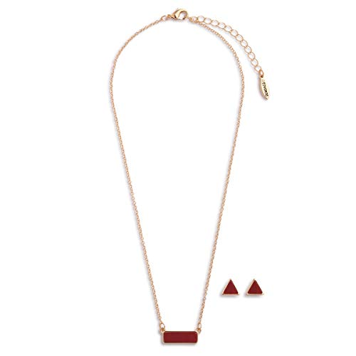 DEMDACO July Ruby Women's Natural Stone Gold-Plated Birthstone Necklace & Earrings Set