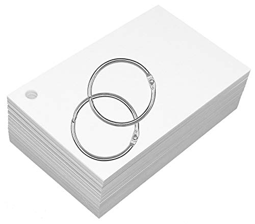 (Debra Dale Designs Premium Blank Unruled White 200# Hole Punched with 2 Rings. Extra Thick - Super Heavy 3