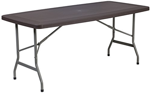 Flash Furniture 32.5 W x 67.5 L Brown Rattan Plastic Folding Table