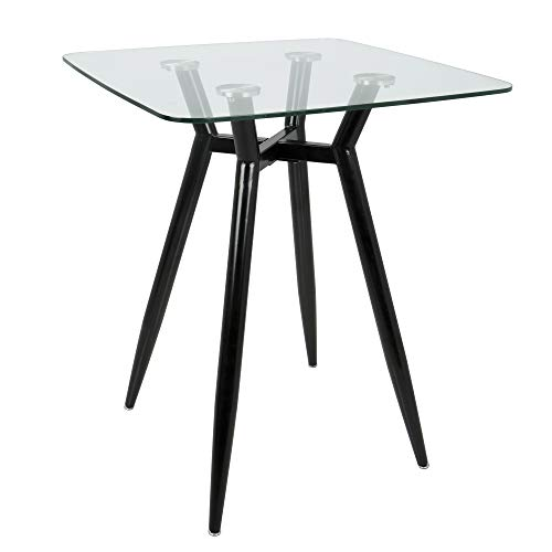 Lumisource Clara Mid-Century Modern Counter Table, Square, Clear/Black ()