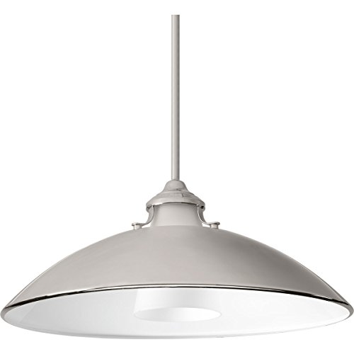 Progress Lighting P500014-104 Carbon One-Light Pendant with Metal Shade, Polished Nickel