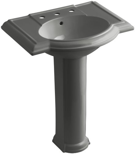 58 Thunder Grey Pedestal - KOHLER K-2294-8-58 Devonshire Pedestal Bathroom Sink with 8