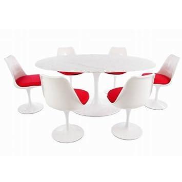 Saarinen Ø199cm Marble Oval Tulip Table U0026 6 X Eero Saarinen Tulip Chair