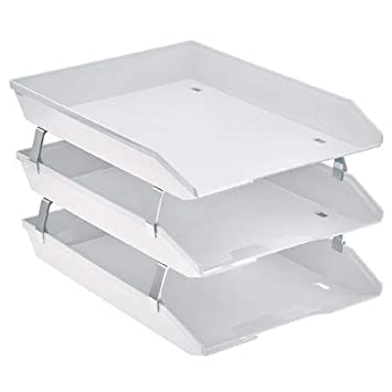 Acrimet Bandeja Portadocumentos 3 Niveles para Cartas Frontal (Color Blanco)