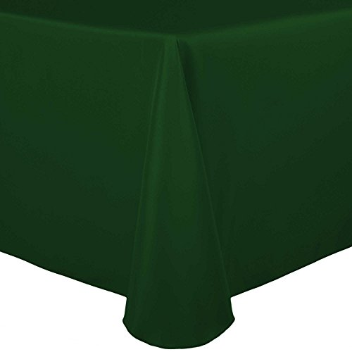 Ultimate Textile 60 x 84-Inch Oval Polyester Linen Tablecloth Hunter Green ()