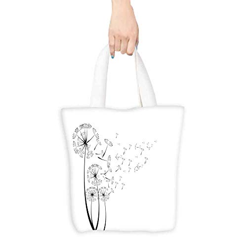 Dandelion Merchandise Bags Monochrome Dandelions with Seeds Blowing in the Wind Fluffy Flower Romance Theme Lightweight 16.5