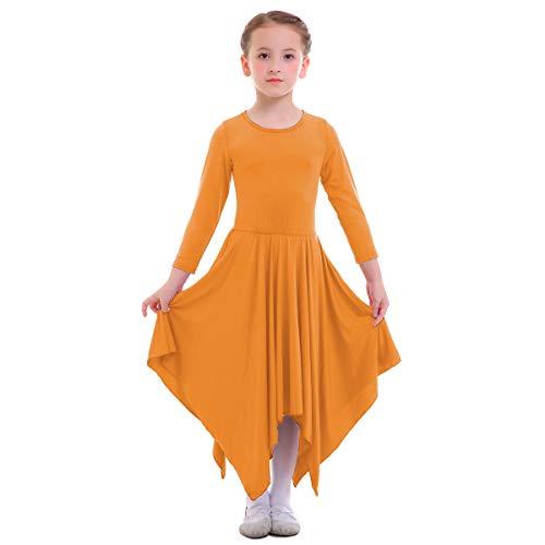 (Girl's Kid's Classics Flowy Liturgical Praise Full Length Long Sleeve Lyrical Dance Dress Loose Fit Skirt Worship Party Costume Praisewear Orange 9-10 Years)