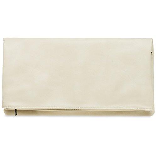 Ladies Ivory Elegant TA392 Evening Clutch with Zip CASPAR Bag Envelope 6p1Ew64q