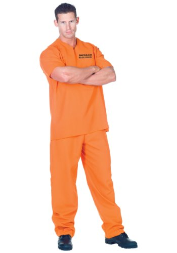 Underwraps Men's Plus-Size Public Offender, Orange, XX-Large - Last Minute Halloween Costumes Ideas For Adults