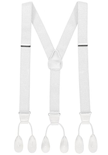 Hold'Em Suspender for Men Made in USA Y-Back Leather Trimmed button end tuxedo suspenders Many colors and designs - White (Regular 46
