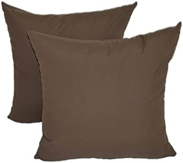 Set of 2 – Indoor Outdoor Square Decorative Throw Toss Pillows – Solid Chocolate Brown – Choose Size 20 x 20