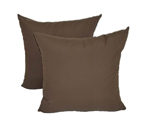 Set of 2 - Indoor / Outdoor Square Decorative Throw / Toss Pillows - Solid Chocolate Brown - Choose Size (20'' x 20'') by Resort Spa Home Decor