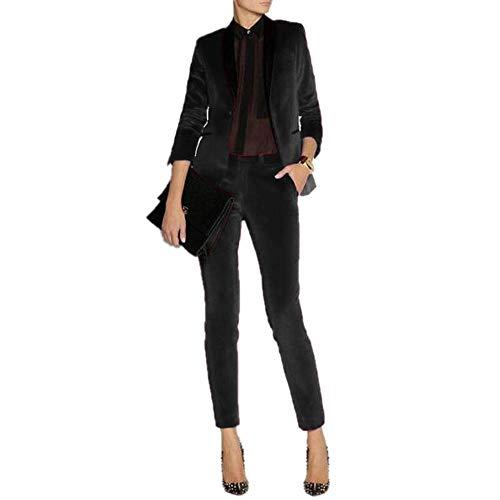 JYDress Women's Velvet Pant Suits Set Ladies Business Office Tuxedos Formal Work Wear Black