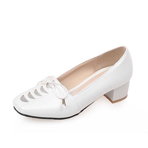 Sandalette-DEDE Zapatos Individuales de Mujer Arco Zapatos Solos Boca Baja Zapatos Solos Zapatos de Mujer de Tacón Grueso Retro white