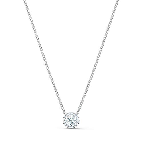 SWAROVSKI Angelic Pendant with Circular Clear Crystal and Clear Crystal Pavé on a Rhodium Plated Chain
