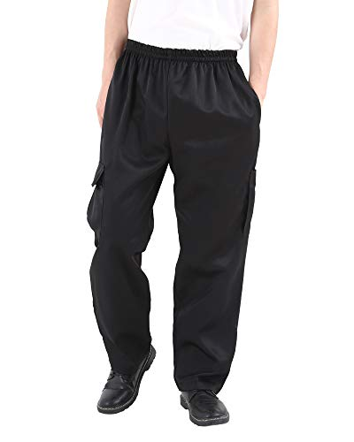 Men's and Women's Black Baggy Chef's Pants Floral Restaurant Work Pants and Kitchen Uniform Loose Cargo Style Chef Trousers