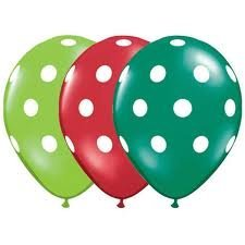 Polka Dot Balloons 11in Premium Red, Emerald Green and Lime Green with All-Over print White Dots Pkg/12]()