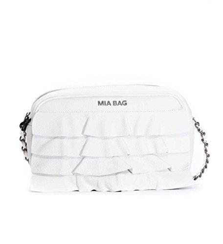 Mia Bag Bag 18135 124 Sac d'épaule à fermeture éclair en cuir avec zips Rouches Ivoire Ss18