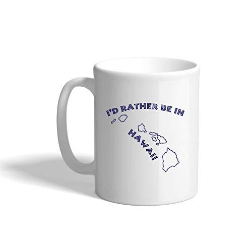 Hawaii White Mug (Navy I'D Rather Be In Hawaii Ceramic Coffee Cup White Mug)