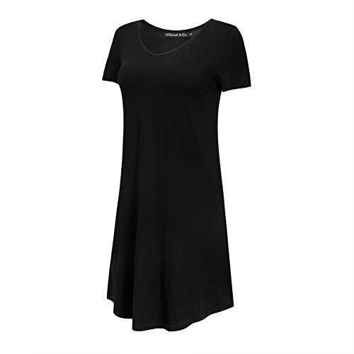 OThread & Co. Women's Plain Short Sleeves Nightgown Loose Fit Sleepwear Nightshirt (Large, Black)