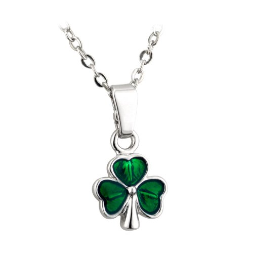 Solvar Tiny Shamrock Necklace Rhodium Plated & Green Enamel Irish Made Jewelry in Gift Box