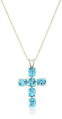 10k Yellow Gold Swiss Blue Topaz Oval Cross Pendant Necklace, 18