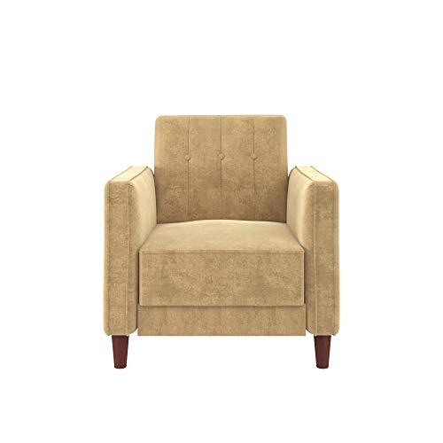 DHP DZ95998 Ivana Accent Chair, Tan Velvet