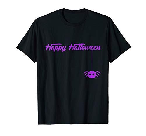 Happy Halloween Shirt Cute Funny Spider Easy Costume Top Tee