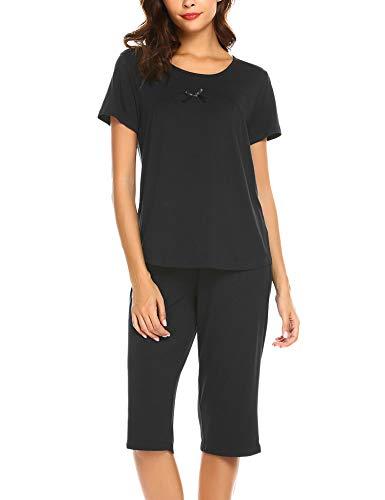 Ekouaer Womens Pajama Set Sleepwear Short Sleeves Top with Pants ()