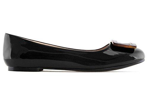 ANDRES MACHADO - Damen Lack Ballerina im Carey Stil - Schwarz Schuhe in Übergrößen, Größe:43