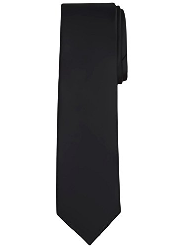 - Jacob Alexander Solid Color Men's Regular Tie - Black