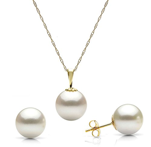 14K Gold White Freshwater Cultured Pearl Stud Earrings And Pendant Wedding Necklace Set, 18″ For Bridesmaids (Choice Of Pearl Sizes And Metal Type)