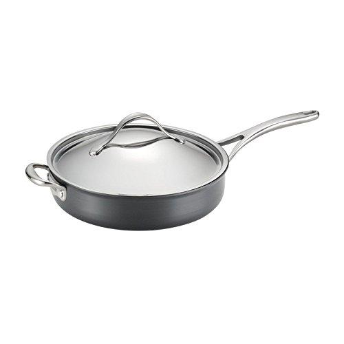 Anolon Nouvelle Copper Nonstick Covered Saute Pan, 5-Quart, Dark Gray
