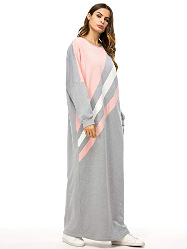 Capucha Musulmán Manga Color Grey Larga Con Mujer Vestido Sueltos Maxi Block De Para Patchwork TwF5qx