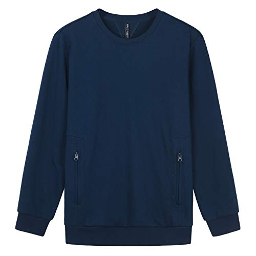 Embroidered Two Pocket Sweatshirt - Innersy Men's Signature Embroidered Athletic Sweatshirt (XS, Navy Blue)