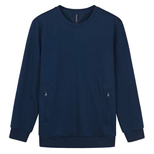 Innersy Men's Cotton Poly Blend Crewneck Sweatshirt (2XL, Navy Blue)