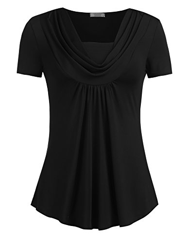 Mofavor Women's Cowl Neck Tunics Short Sleeve Swing Blouse Top Flowy Shirt