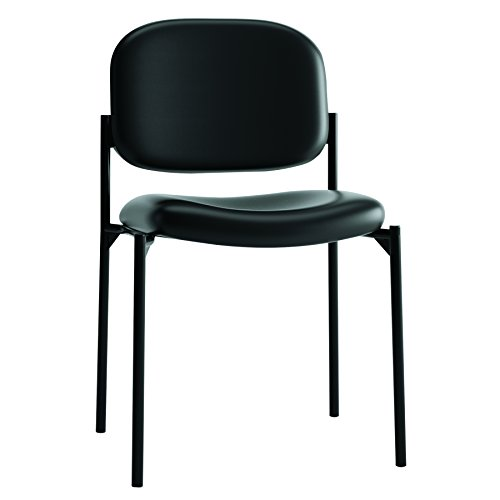 HON Scatter Guest Chair - Leather Stacking Chair Office Furniture, Black - Chairs Stacking Office Furniture
