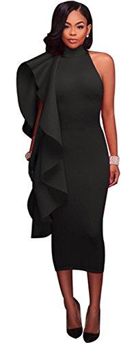 Sleeveless Asymmetric Asymmetrical High Mock Neck Ruffled Ruffle Hem Midi Bodycon Dress Black 2XL ()