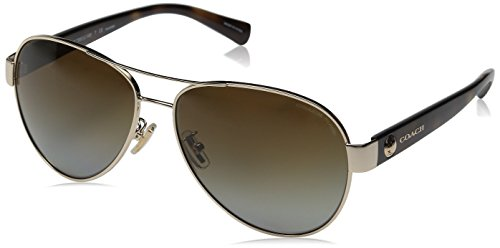 COACH Women's 0HC7063 Light Gold/Polarized Dark Tortoise Sunglasses by Coach
