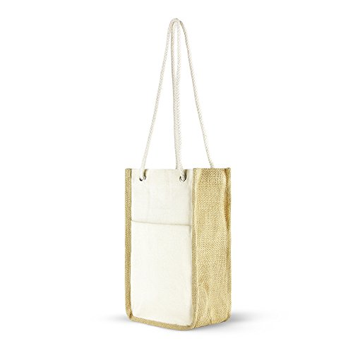 Cotton Jute Gift Bags with Front Pocket and Rope Handles - Set of 2 - by Simply Green Solutions