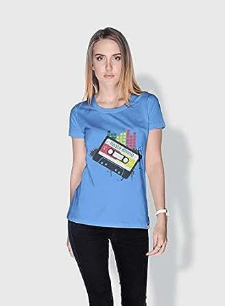 Creo Rasta Rhino Trendy T-Shirts For Women - L, Blue