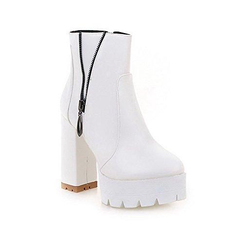 AgooLar Damen Blockabsatz Hoher Absatz Rund Zehe PU Reißverschluss Stiefel, Weiß, 37