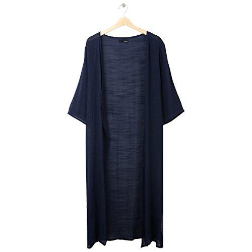 ReEDIT(リエディ)ロングガウン カーディガン ワイドスリーブ リラックス 羽織り ライトアウター 軽い 七分袖