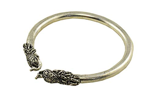 Tripti Indian Vintage Ethnic Antique Aged Oxidized Silver Rajasthani Hasli Bangle/Anklet Bracelet Kada with Motifs for Women and Girls (Peacock)