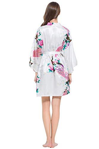 Abito Vintage Bianca Taglia Ragazza Sera Accappatoio Stampa Kimono Notte Chic Floreale Camicia Elegante Da Unica Moda Rosa BaBXxCrqw