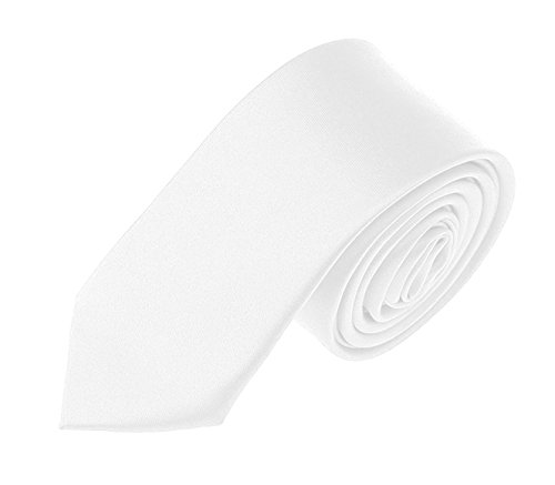 (Solid Color Boys Tie Skinny Tie for Boys 2.5 inches (White))