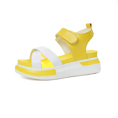 delle donne YCMDM sandali estivi slingback Creepers Luce Suole PU Abito informale all'aperto Tallone piano Magic Tape Walking , yellow , us6 / eu36 / uk4 / cn36