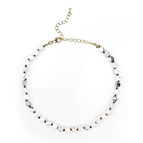 POMINA 6mm Semi Precious Stone Beaded Short Necklaces (howlite) by POMINA