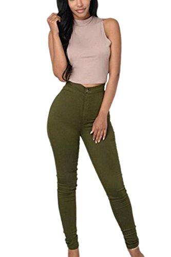 Alta Mujer Verde La Cintura Skinny De Vaqueros Pantalones Casual Stretchy Carpi Mezclilla Clubwear w1OXO7nUq